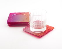 Red Fused Glass Coasters, Iridescent Glass, Imprinted Design, Bar Accessories, Tabletop Decor, Modern Coasters, Cool Gifts for Men