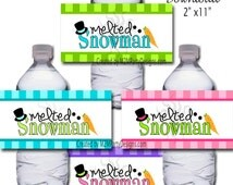 Melted Snowman Printable Water Bottle Wrappers, Melting Snowman Party Bottle Labels, Instant Download, Snowman Party Water Bottle Wrappers