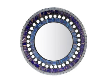 Round Wall Mirror / Blue and Gray Mosaic - SALE