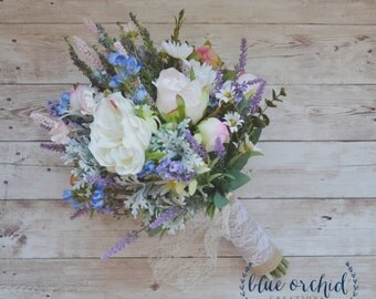 Wildflower Boho Bouquet with Lavender, Blue Blossoms, and Garden Roses, Rustic Bouquet, Boho Wedding Bouquet, Wildflower Bouquet