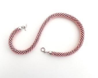 Rose Quartz Necklace/Rope Necklace/Rigid brass necklace/Pink Necklace/Hematite short necklace