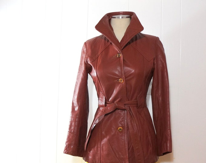 Vintage Leather Jacket Womens SMALL 1970s Western Yoke Burgundy Cordovan Brick Red Four Button Tie Belt 70s Tailored Jacket Outerwear Learsi