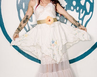 pale blush soft white & tan asymmetrical embroidered hankerchief hem boho bridesmaid dress by mermaid miss k