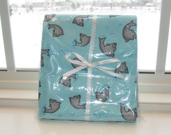 Dolphin Play Blue Flannel Burp Cloth