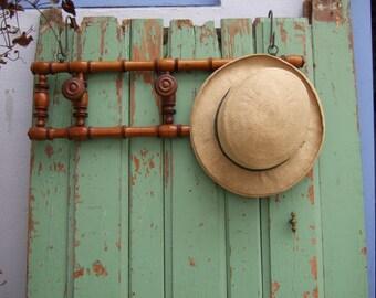 Vintage French Hat Coat Rack in Fruit wood Three Pegs Original.