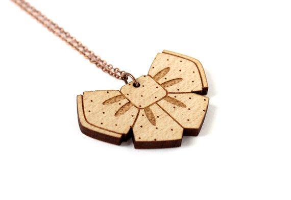 Bowtie necklace - lasercut maple wood - laser - cute pendant - kawaii jewelry - graphic necklace - lasercutting - wooden jewellery