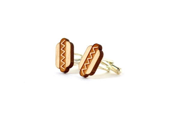 Hotdog cufflinks - kitsch cuffs - wooden wedding accessory - lasercut maple wood - jewelry for men - jewellery for the groom or bestman