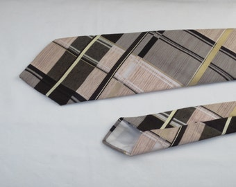 Vintage Bergere' Men's Tie, Tan Brown and White Plaid