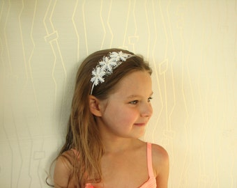 Snowflake headband white Girl hair accessory Winter weddings Christmas head piece