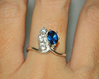Sapphire Ring, Cocktail Ring, Cluster Ring, Diamond Ring, Dinner Ring, Anniversary Ring, Low Profile Setting