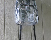 See Through / Eastsport Backpack / Clear / Vinyl / 1990s / Large / Black Straps / Deadstock