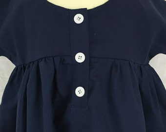 Navy Blue Baby Smock Dress, size 3 months  in Organic Cotton