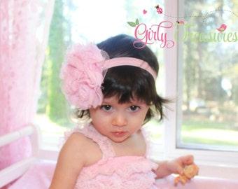 Pink Flower Headband. Baby Headband. Girl Headband. Newborn Headband. Adult Headband. Photo Prop.