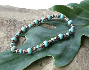 Stretch bracelet turquoise stone beads & antiqued copper