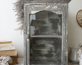 Distressed gray display cabinet wall hanging French farmhouse weathered w/ white painted wooden shelf home decor anita spero design