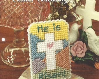 Plastic Canvas Pattern Easter Blessing - Plastic Canvas Cross, Religious, He Is Risen, Picture, Home Decor