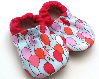 balloon baby shoes baby girl booties up and away tula booties soft sole shoes for baby girl pink and blue crib shoes with balloons vegan