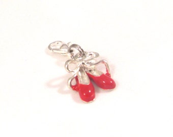 Add a Charm, Charm, Pendants, Ballet Slippers, Silver Plated Enamel Red, 18.0mm x 14.0mm