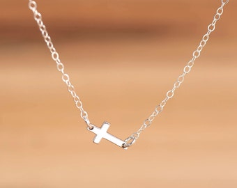 Silver Sideways Cross Necklace, Tiny Gold-Silver Cross Necklace, Confirmation Gift, Christian Jewelry, Dainty Cross Necklace, Christmas Gift