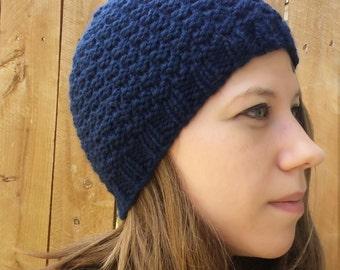 Hand knit Blue Beanie, Blue Knit Hat, Textured Knit Hat