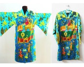 Vintage Alice Polynesian Persian Print Dress, Bright Colors, Knee Length, RARE Print Size XS