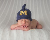 Newborn Michigan Hat,Michigan Baby Hat,Newborn Photo Prop, Baby Boy Hat, Baby Girl, Baby Boy Knit Hat, Baby Girl Hat, U Of M Hat