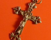 French  genuine Silver 800  Antique Cross Religious medal Catholic  Pendant Charm jewelry  / 6MS1/6