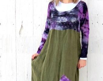 Tie Dye Dress -Maxi Dress - wearable art - boho clothing size medium - upcycled recycled repurposed hippie skirt - long babydoll linen dress