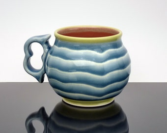 Large handmade coffee mug. Large blue and red pottery mug with white stripes and an super comfy two finger handle. Pottery. Ceramic. Tea cup