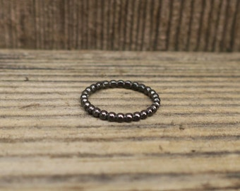 Vintage Oxidzed 925 Sterling Silver Beaded Stacking Ring
