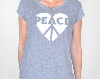 Peace / Heart - Heather Grey Eco Friendly Tee
