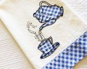 Vintage Cottage Home French Blue, Raven Black, and Heirloom White Handstitched Teacup Linen Towel, Olives and Doves