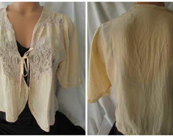 1920s Cutter SILK BED JACKET to repurpose Lace Downton fashion study