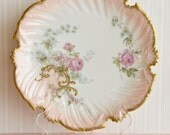 Antique Hand Painted Limoges Blush Porcelain Plate / Pink china / Roses / Victorian