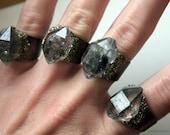 Medium Tibetan Smoky Quartz Crystal Ring // Double Terminated Crystal Statement Ring // Black Crystal Ring with Pyrite
