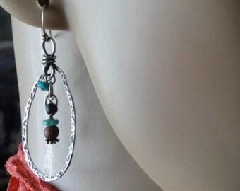 oxidized sterling silver tear drop dangle earrings, sterling silver turquoise earrings, tear drop wire wrapped earrings, silver wire wrapped