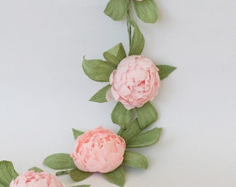 Bridal garland wedding garland paper flower garland peonies paper flower party garland paper flower decor wedding flower arrangement peonies