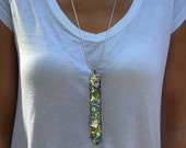 """Bismuth Necklace, """"Crystal Hollyhock"""", Bismuth Crystal Jewelry, Sterling Silver Bail, Pendant on Leather or Sterling Chain"""