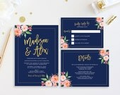 Printable Wedding Invitation, Navy and Gold Wedding Invitations, Floral Wedding Invite, Wedding Invitation Template