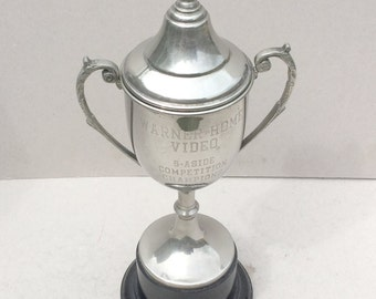 Big vintage silver plated trophy cup, 1980s Warner Home Video Cup, Sports trophy cup, Trophy with Lid, Award, Loving cup