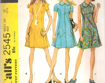 """Vintage 1970 McCall's 2545 Mod Dress in Three Versions Sewing Pattern Size 10 Bust 32 1/2"""""""