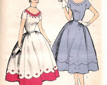 """Vintage 1954 Advance 6649 One Piece Dress with Scoop Neckline Sewing Pattern Size 16 Bust 34"""" UNCUT"""