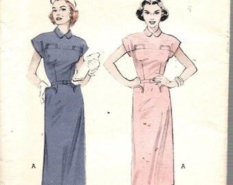 Vintage 1953 Butterick 6411 Tailored Dress, Slim Skirt, Stand Pockets Sewing Pattern Size 16 Bust 34""