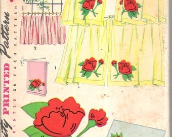 Vintage 1954 Simplicity 4919 Cafe Curtains with Transfer Included Sewing Pattern UNCUT