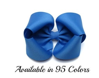 Blue Hair Bow, Big Hair Bows, 5 Inch Hair Bows, Large Hair Bows, Girls Hair Bows, Hair Bows, Toddler Hair Bows, Hairbows, Baby Bows, 500