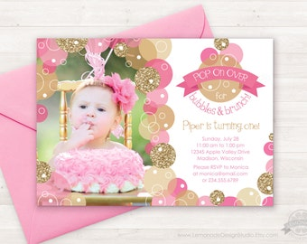 Pink Gold Bubble Invitation, Glitter Bubbles Brunch Invitation, Pop on Over, First Birthday Invitation Kids, Girls Bubble Party Invitations