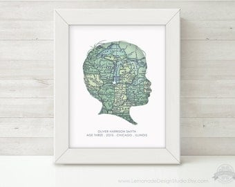 CUSTOM Silhouette, Map Wall Art, Personalized Childrens Silhouette, Map, Unique Gift, Grandparent Gift, Child Silhouette, Nursery Art Print