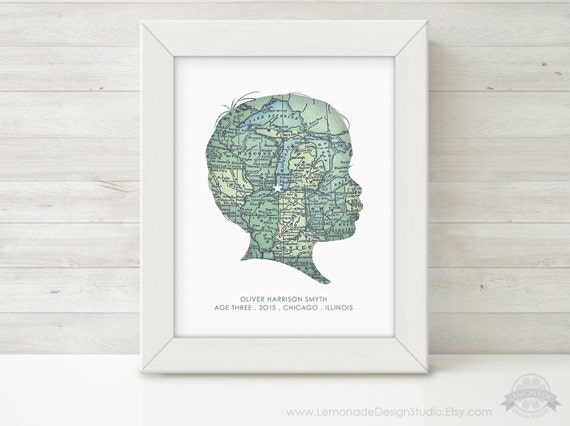 custom silhouette map wall art personalized childrens silhouette