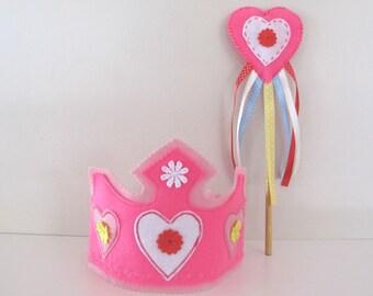 Felt Crown and Fairy wand, Felt Princess Birthday Crown, Princess Dress Up Hat