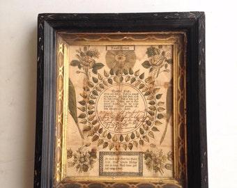 Antique Fraktur, Framed Antique German Christening Fraktur, Birth Fraktur, 1829 Hand Drawn Christening Certificate